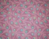 Victorian Modern Peacock Feathers in Pink -- Full or Half Yard Andover Quilting Fabric