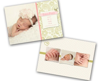 INSTANT DOWNLOAD -   Birth announcement photo card template, 5x7 card - 0787