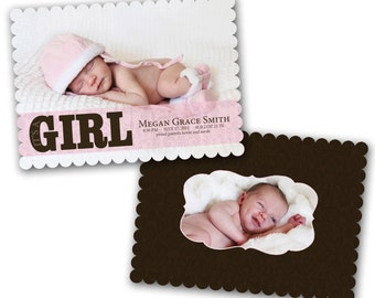 INSTANT DOWNLOAD - Birth announcement photo card template, Luxe card - 0193