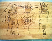 Upclicled Chopping Board with Pyrography art  -Vintage Fun Gift for Couples -Personalizable