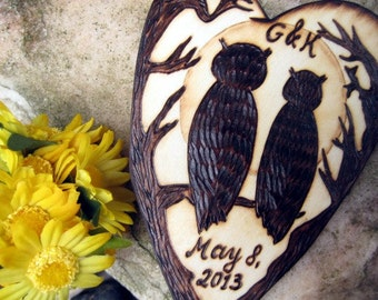 Owl wedding cake topper -Owls, Branches and the Moon Silhouette wood burning-Personalizable