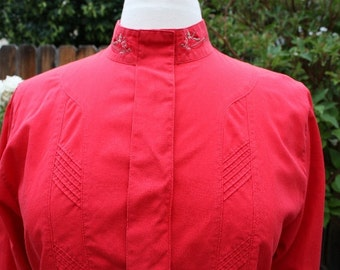 Red Geiger Blouse High Neck Embroidered Motif Full Pleated Sleeves Tucks Vintage Retro 80s Size Euro 38 Cotton Austria Hipster