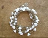 Romantic crochet wrap bracelet necklace, Babys Breath, Bohemian wedding jewelry, flowers, bridal, boho country wedding silver charm, white