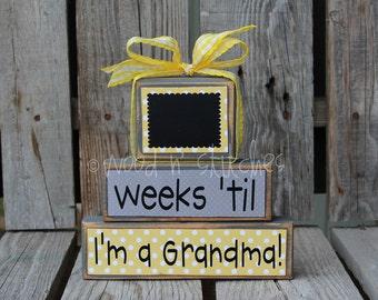 Personalized  COUNTDOWNS chalkboard wood block set. . . Grandma Baby Christmas, vacation, birthday, Halloween, Disneyland, grandma primitive