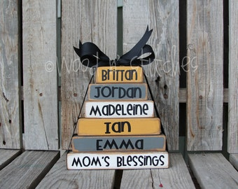 Fathers Day Grandpa Dad Mothers day Mom Grandma Nana Blessings Wood BLock Set christmas birthday fift home decor personalized grandchildren