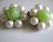 Vintage 50's Clip On Earrings Green Grape & Pearls Easter Sunday