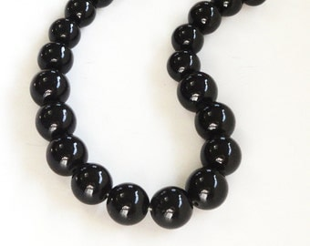 "Black Pearl Beads - Black Round Glass Beads - Smooth Graduated Round Ball - 10mm-12mm - Diy Bridal Wedding Jewelry - 8"" Strand - 20 Beads"
