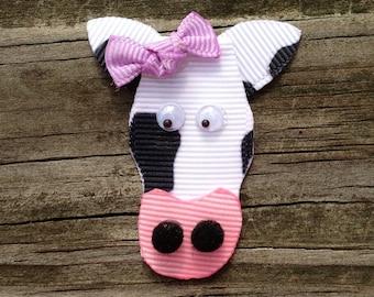 Cow Hair Clip, Toddler Hair Clip, Black and White Cow Hair Clip, Girls Hair Accessories, Cow Ribbon Hair Clip, Free Shipping Promo