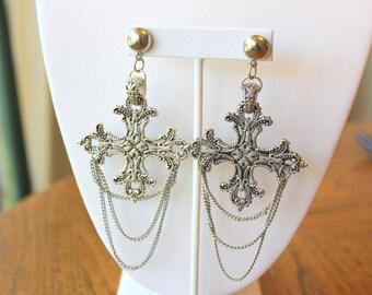Edwardian Earrings Antique Earrings Goth Earrings Cross Earrings Medieval Earrings Silver Chandelier Earrings Silver Cross Earrings Rosary