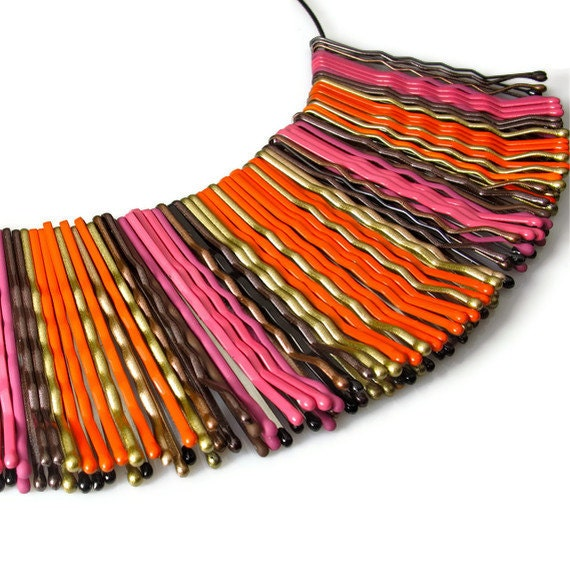 Colorful Necklace, Bib Statement Necklace, Pink and Orange