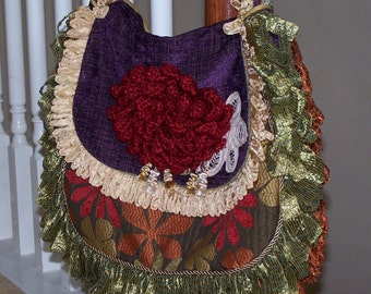 Messenger Bag Purse Tapestry Boho Hobo in Purple Green Orange Red Gold Chenille -Crocheted Chrysanthemum and Vintage Lace