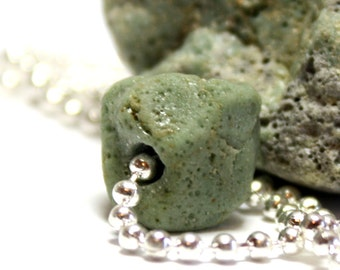Mint Slag Glass Jewelry- Drilled Inland Seaglass Necklace- Silver Ball Chain Jewellery Handmade by Allybeans