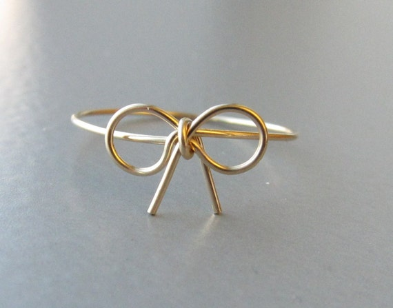 gold bow ring gold tie the knot ring wire bow ring bow