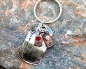 Personalized hand stamped custom keychain