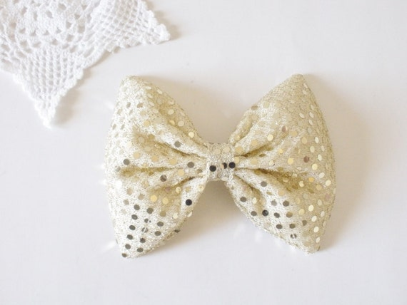 Chevron Gold Hair Bow, Iridescent Sparkly Shiny Sequin