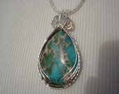 Large Wirewrapped Variscite Pendant