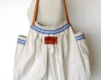 Reserved for Onnie. XL French Linen Bag Sophie-blue striped Beach Bag- Leather handles- Personalized. Unique. Handmade. Sand - blue stripes