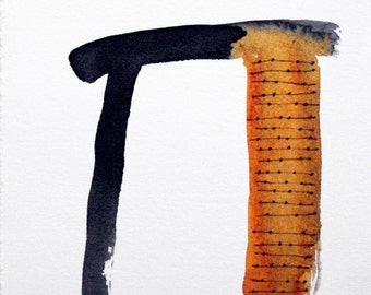 Orange Arch in Black Ink and Watercolor