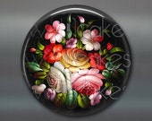 floral fridge magnet, russian trays flower decor, kitchen decor, large magnet, oversize magnet  MA-335