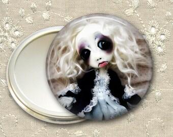 gothic doll pocket mirror,  original art  hand mirror, mirror for purse, bridesmaid gift, stocking stuffer MIR-AD8