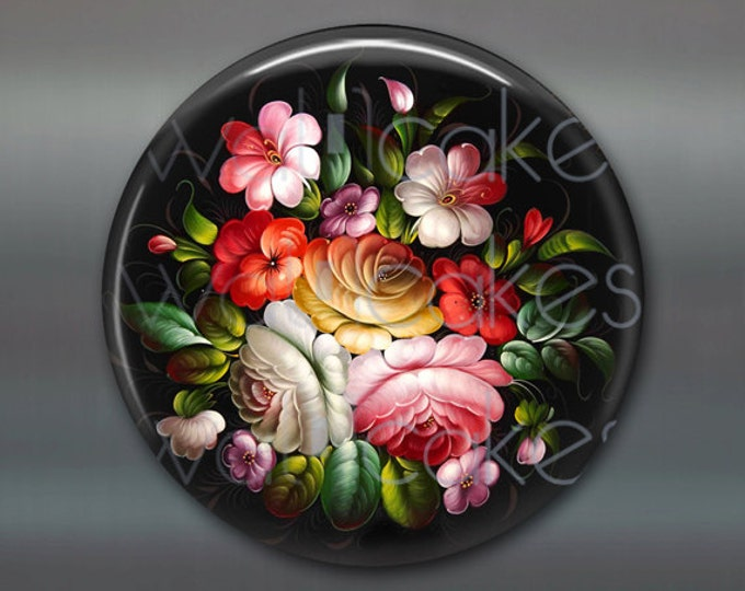 "3.5"" floral fridge magnet, russian trays flower decor, kitchen decor, large magnet, stocking stuffer  MA-335"