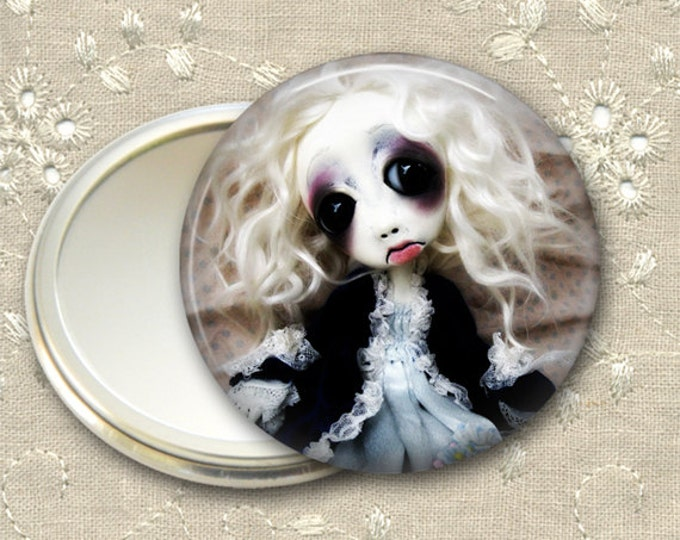gothic doll pocket mirror,  original art  hand mirror, mirror for purse, bridesmaid gift, stocking stuffer MIR-AD8