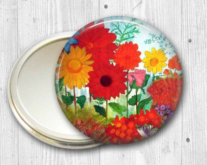 colorful garden pocket mirror,  original art hand mirror, mirror for purse, bridesmaid gift, stocking stuffer MIR-502