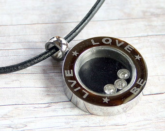 SALE Leather Surfer Necklace With Stainless Steel Live Love Be