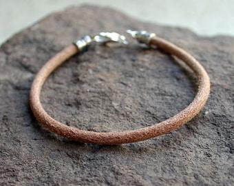 Men's Thick Bracelet 4mm Natural Round Leather Surfer Surf Wrap, Mens Bracelet, Mens Jewelry