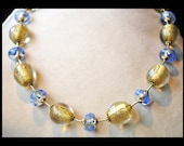 Gold and Sky Blue Glass Necklace