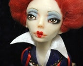 Red Queen Art Doll Bust made with polymer clay OOAK One of a Kind Alice in Wonderland inspired
