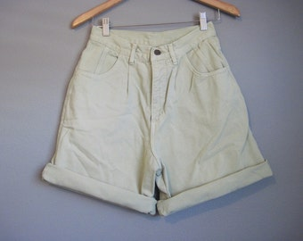 Green High Waisted Jean Shorts Vintage Denim Small Medium 27