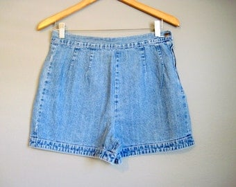 High Waisted Jean Shorts Vintage Flat Front Denim Small