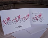 Bike Bicycle Thank You Cards - Bicycle Thank You Card Set, Bike Love, Bikes Hearts Red Pink