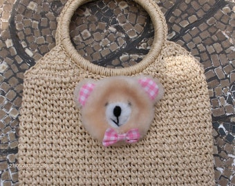 Price Reduction - Vintage Girl's Straw / Raffia Hand Bag with Little Bear - Sweet