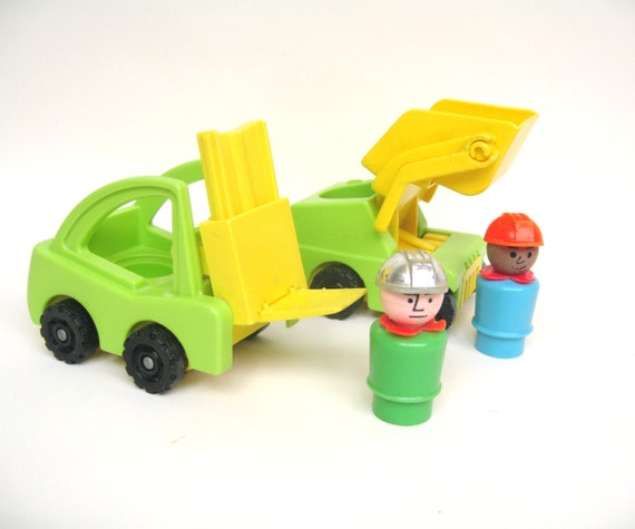 Vintage Fisher Price Construction Trucks with Men