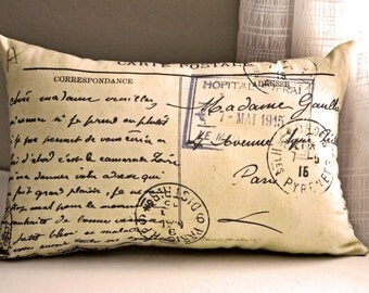 French Postcard Pillow