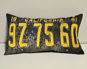 California 1941 license plate pillow