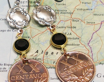 Portugal, Vintage Coin Earrings --- Stay Thirsty My Friends --- Dos Equis - Most Interesting Woman in the World - Live Life to the Fullest
