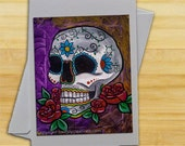 2 in 1 gift -Purple Sugar Skull Card & Print (single card), 4x6 print, purple, day of the dead card, blank card, Di de los Muertos