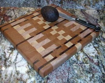 Cutting Board Endgrain Hardwoods Pretty Darker Stripes - Gift for Mom or Dad or Grad or Newlyweds