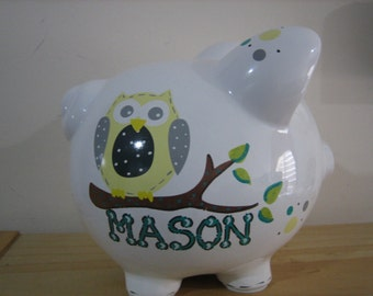 Handmade boy piggy banks personalized etsy - Coin banks for boys ...