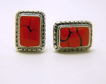 Silver Tone Cuff Links - Red Variegated Cabochon
