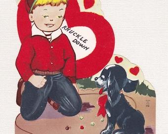 KNUCKLE DOWN VALENTINE, 1950, Flocked, Fold-Out Dog, Vintage Holiday Card, Ephemera