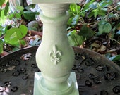 FRENCH COUNTRY COTTAGE Fleur de Lis Large Candle Holder OoakLight Mint/ Paris Apartment /Shabby Chic by Valsunique