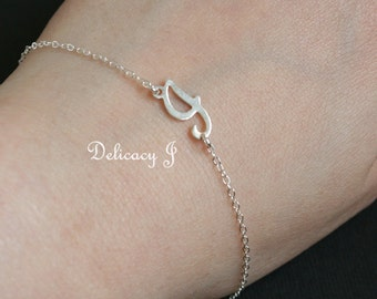 Charm initial bracelet in sterling silver, Script letter sideways initial, Personalized bracelet, Birthday graduation gift customized jewel