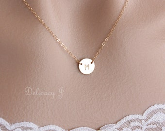Initial necklace, Initial Disk Necklace, 14K gold filled, Monogram Necklace, Personalized necklace, Bridesmaid gifts, Christmas gift