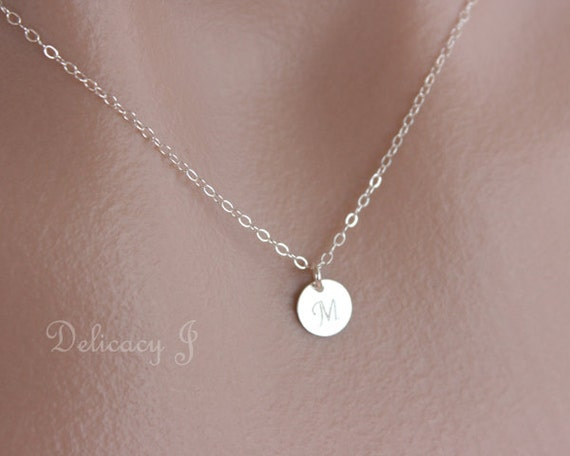 tiny disc initial necklace monogram personalized necklace