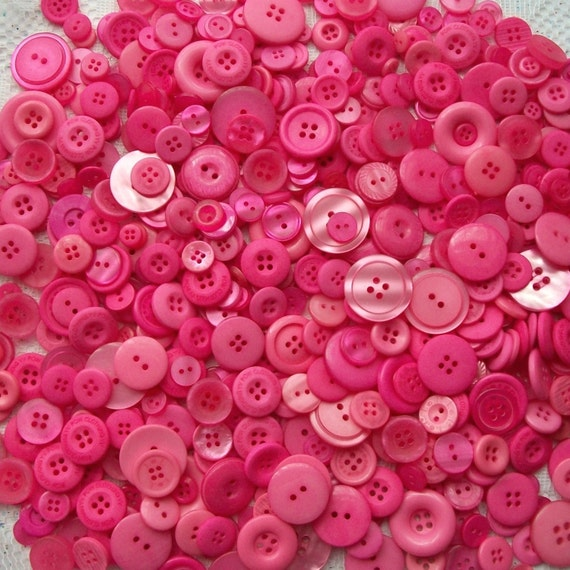 100 Bright Pink Button Mix,  Deep Pink  assorted sizes -  Grab Bag - Crafting -  Jewelry -  Collect (678)