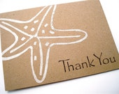Starfish Note Cards - Nautical Stationery - Blank - Thank You Note Cards - Lino Block Print - Kraft Paper